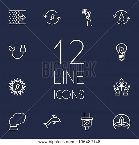 Set Of 12 Ecology Outline Icons Set. Collection Of Renewable Energy, Pollution, Eco And Other Elements.
