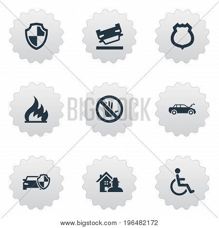 Elements Automobile Damage, Advocacy, Protected Vehicle And Other Synonyms Wheelchair, Handicapped And Hand. Vector Illustration Set Of Simple Warrant Icons.