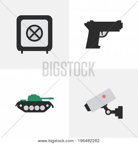 Vector Illustration Set Of Simple Offense Icons. Elements Vault, Supervision, Military And Other Synonyms Vault, Military And Protected.