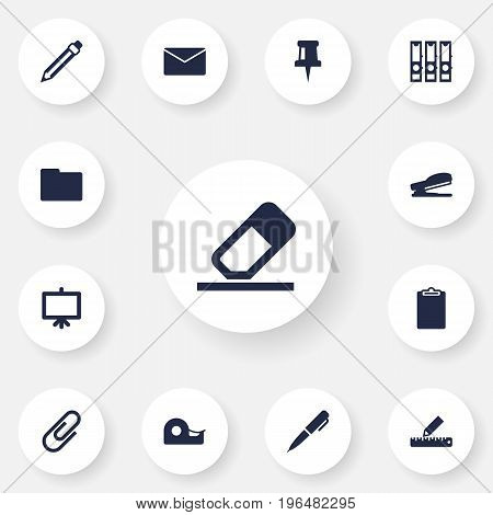 Set Of 13 Stationery Icons Set. Collection Of Pushpin, Folder, Drawing And Other Elements.