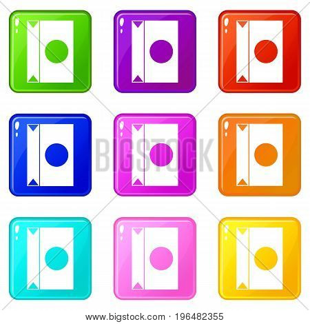 Big package icons of 9 color set isolated vector illustration