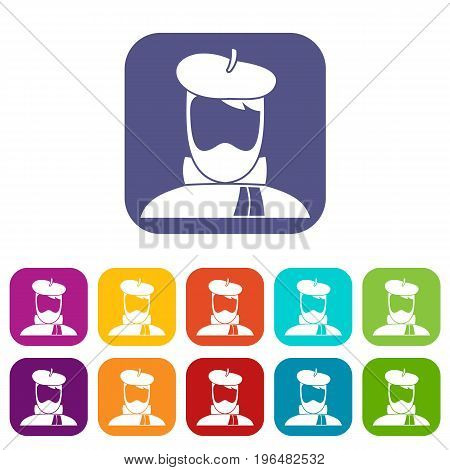 Artist icons set vector illustration in flat style in colors red, blue, green, and other