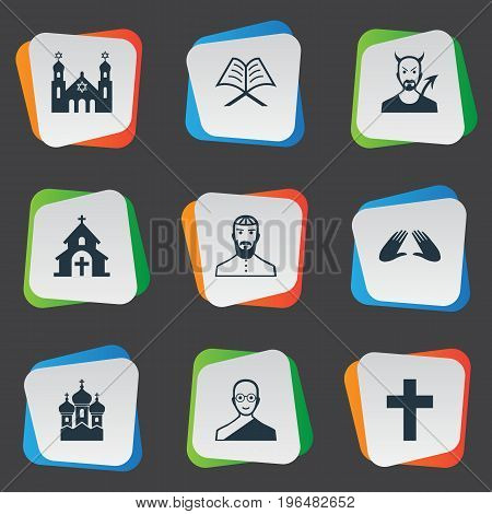 Elements Orison, Temple, Catholic And Other Synonyms Church, Jewish And Synagogue. Vector Illustration Set Of Simple Faith Icons.