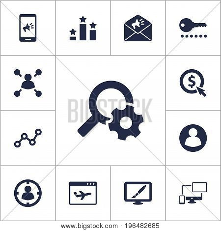 Set Of 13 Search Icons Set. Collection Of Marketing, Targeting, Airplane And Other Elements.
