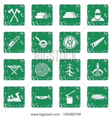 Timber industry icons set in grunge style green isolated vector illustration