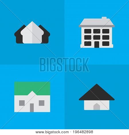 Vector Illustration Set Of Simple Property Icons. Elements Structure, House, Base And Other Synonyms Estate, House And Building.