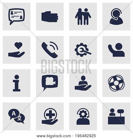 Set Of 16 Backing Icons Set. Collection Of Undertake, Human, Reception And Other Elements.