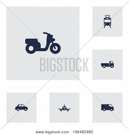 Set Of 6 Transport Icons Set. Collection Of Lorry, Aircraft, Side View And Other Elements.