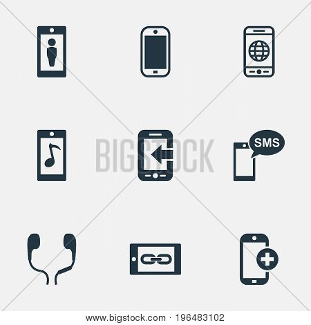 Elements Worldwide Net, Connection, Monitor And Other Synonyms Mobile, Ear Muffs And Add. Vector Illustration Set Of Simple  Icons.