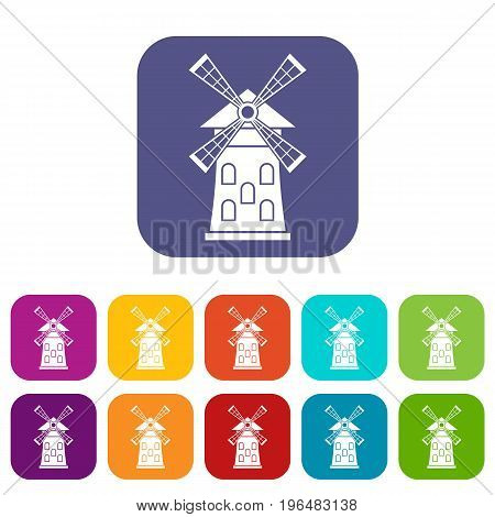 Windmill icons set vector illustration in flat style in colors red, blue, green, and other
