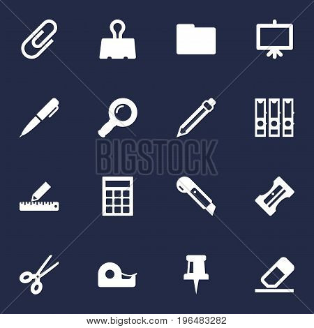 Set Of 16 Stationery Icons Set. Collection Of Folder, Binder, Calculate And Other Elements.