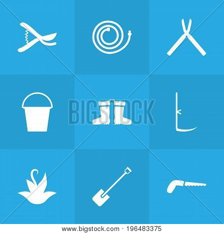 Collection Of Garden Hose, Rubber Boots, Bucket And Other Elements. Set Of 9 Farm Icons Set.