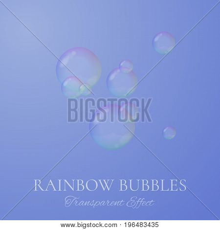 Rainbow soap bubbles in realistic vector style. Transparent isolated soapy bubbles as background for clean design.