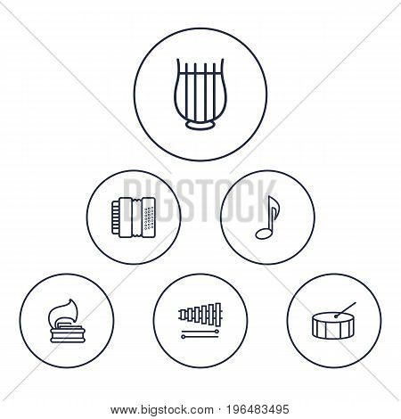 Collection Of Harmonica, Vinyl, Percussion And Other Elements. Set Of 6 Melody Outline Icons Set.