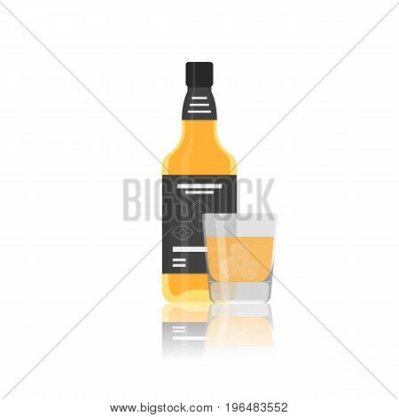 Vector flat icon of alcohol bottle with glass. Vector realistic flat icons isolated on white background.