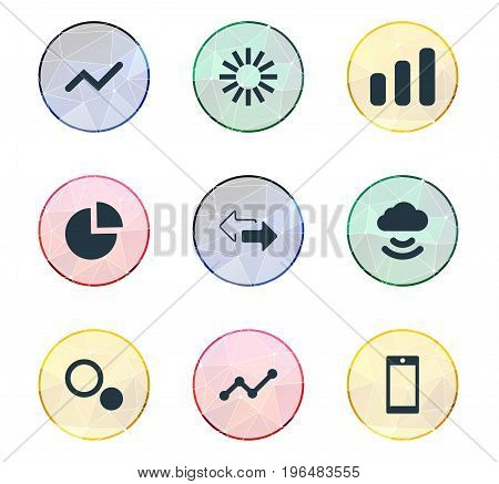 Vector Illustration Set Of Simple Analysis Icons. Elements Graphic, Comparison, Double Arrow And Other Synonyms Directions, Cloud And Line.