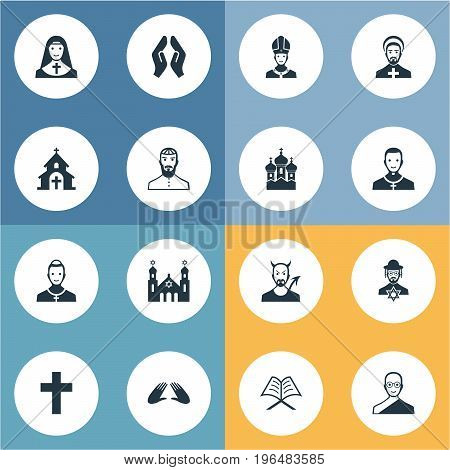 Vector Illustration Set Of Simple Faith Icons. Elements Catholic, Christian, Pater And Other Synonyms Bald, Pope And Orison.