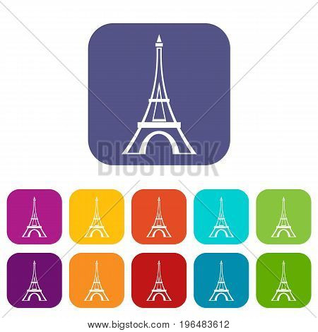 Eiffel tower icons set vector illustration in flat style in colors red, blue, green, and other