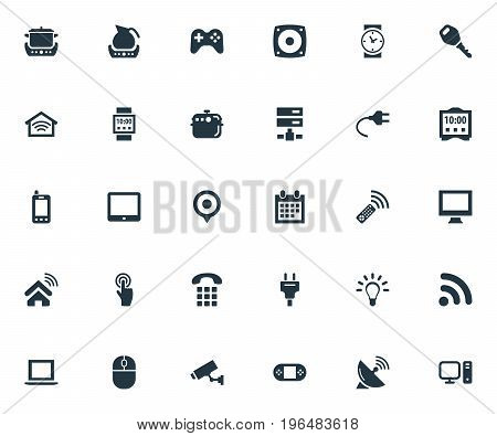 Vector Illustration Set Of Simple Internet Icons. Elements Desktop, Surveillance, Protection And Other Synonyms Watch, Lock And Telephone.