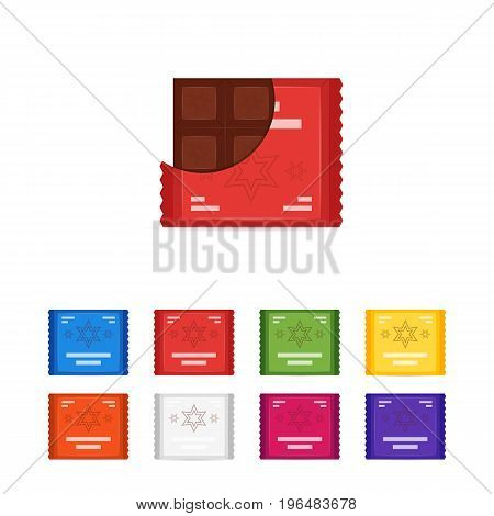 Vector set of flat chocolate bar icons. Diffrent opened and closed wrapper of bars of chocolate sweets. Isolated on white background illustration of logo or sign design illustration.
