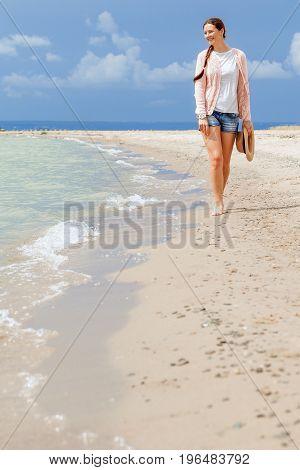 Woman Walks Around  Sea