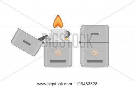 Vector flat cigarette lighter icon. Fire lighter tools for tobacco smoker. Isolated logo or sign design illustration.
