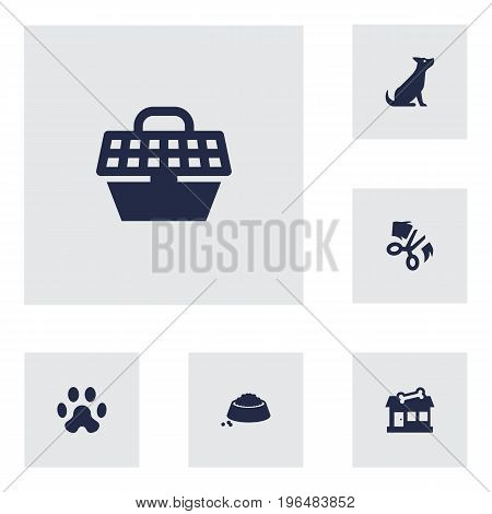 Collection Of Pet Crate, Scissor, Footprint And Other Elements. Set Of 6 Animals Icons Set.