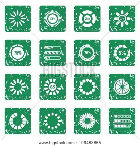 Loading bars and preloaders icons set in grunge style green isolated vector illustration