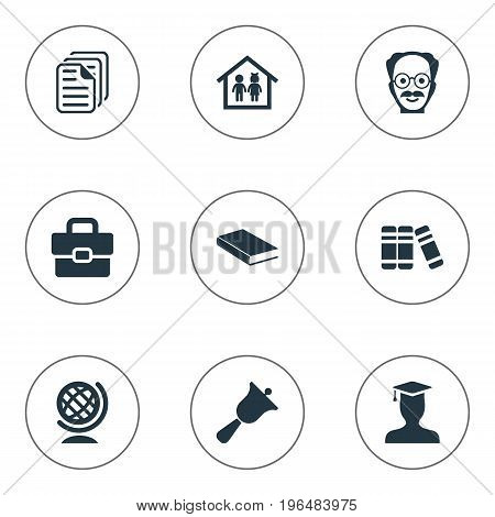Elements Preschool Building, Files, Books And Other Synonyms Pedagogue, Suitcase And Scientist. Vector Illustration Set Of Simple School Icons.