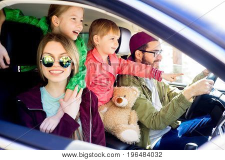 Happy family is going on a trip together
