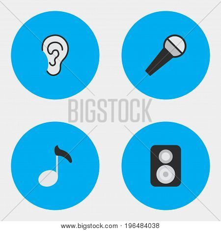 Vector Illustration Set Of Simple Sound Icons. Elements Listen, Speaker, Note And Other Synonyms Hear, Mike And Note.