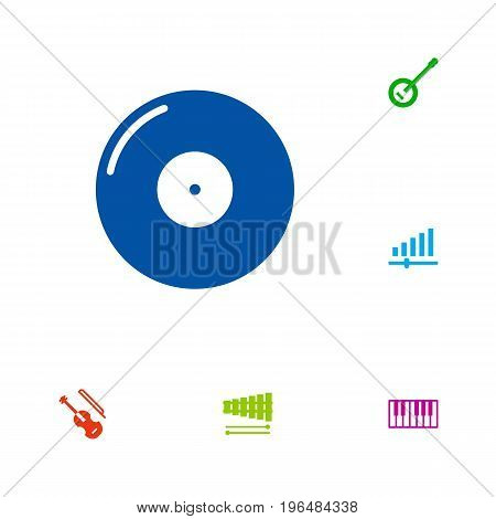 Set Of 6 Music Icons Set. Collection Of Banjo, Retro Disc, Percussion And Other Elements.