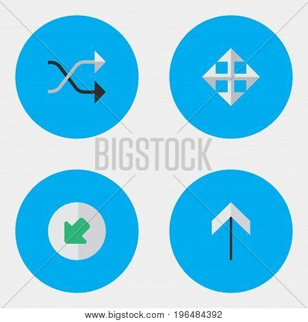 Vector Illustration Set Of Simple Arrows Icons. Elements Up, Widen, Chaotically And Other Synonyms Chaotically, Resize And Northwestward.