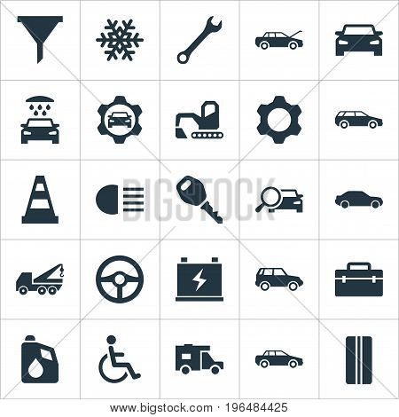 Vector Illustration Set Of Simple Auto Icons. Elements Truck, Snowflake, Auto And Other Synonyms Man, Handicapped And Water.