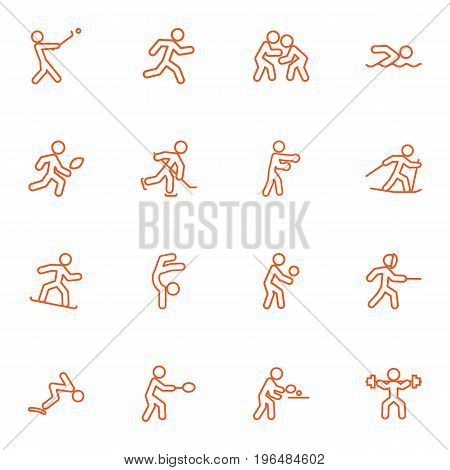 Collection Of Swimming, Snowboard, Swordplay And Other Elements. Set Of 16 Fitness Outline Icons Set.