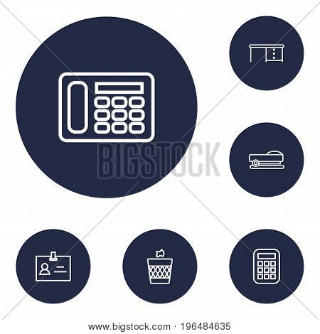 Collection Of Staple, Wastebasket, Badge Id And Other Elements. Set Of 6 Workspace Outline Icons Set.