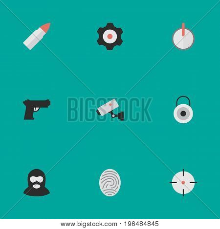 Elements Target, Safe, Supervision And Other Synonyms Lock, Mechanical And Gun. Vector Illustration Set Of Simple Offense Icons.