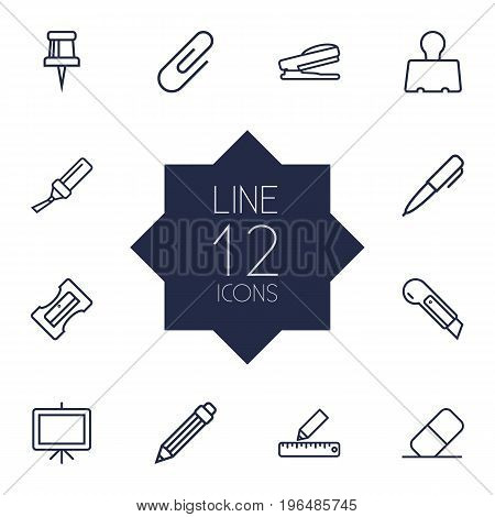 Collection Of Paper Clamp, Marker, Pen And Other Elements. Set Of 12 Instruments Outline Icons Set.