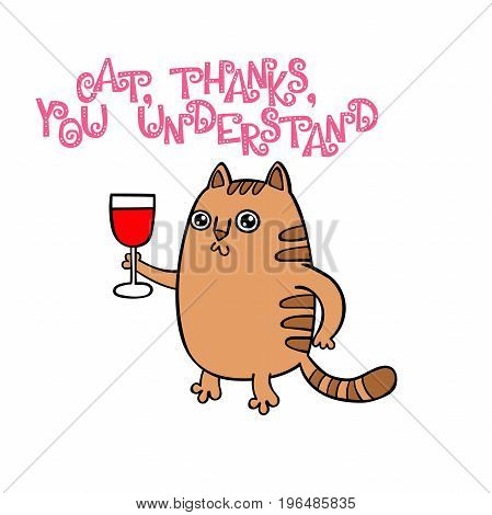 Cat, thank you. Lettering. Isolated vector object on white background.