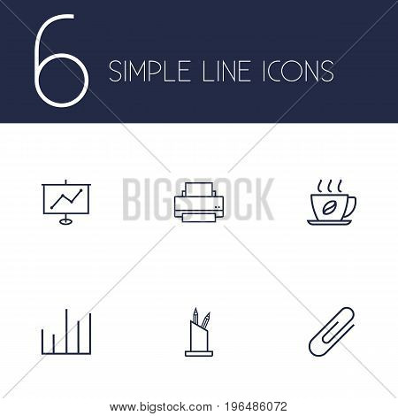 Set Of 6 Bureau Outline Icons Set. Collection Of Printing Machine, Fastener Paper, Chart And Other Elements.