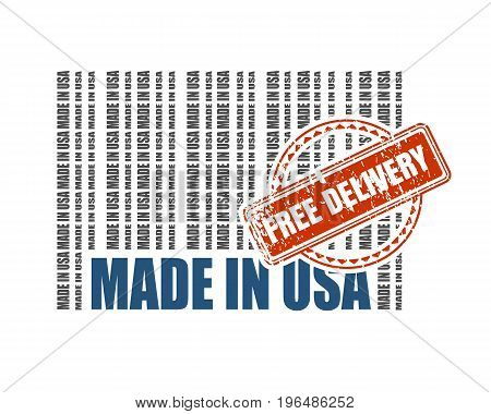 Made in USA barcode. Vector illustration. Free delivery stamp