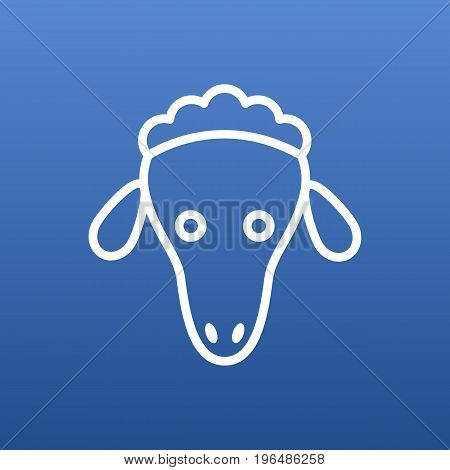 Vector Sheep Element In Trendy Style. Isolated Merinos Outline Symbol On Clean Background.