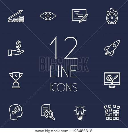 Set Of 12 Strategy Outline Icons Set. Collection Of Money Saving, Idea, Grid Structure And Other Elements.
