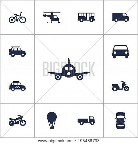 Collection Of Motorbike, Taxicab, Autobus And Other Elements. Set Of 13 Traffic Icons Set.