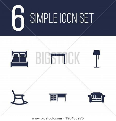 Collection Of Couch, Desk, Bedroom And Other Elements. Set Of 6 Decor Icons Set.