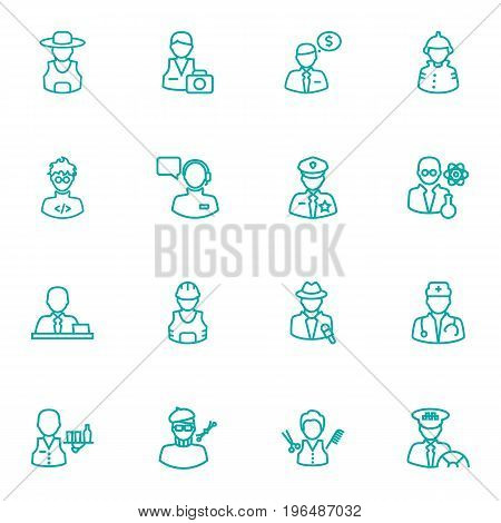 Collection Of Scientist, Manager, Worker And Other Elements. Set Of 16 Professions Outline Icons Set.
