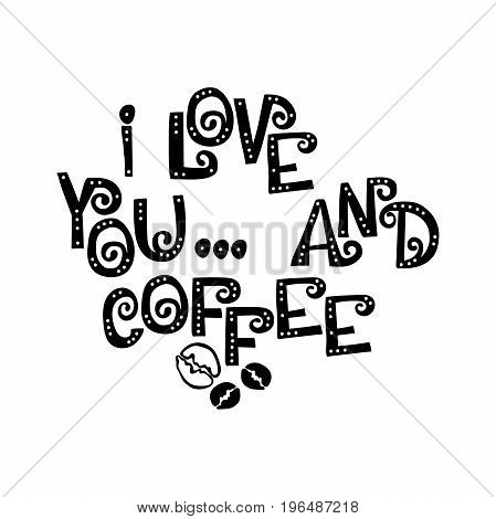 I love you and coffee. Font. Letters with holes. English alphabet. Isolated vector objects on white background.