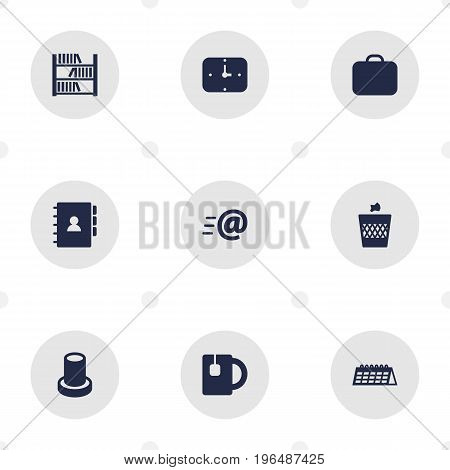 Collection Of Cup, Case, Message And Other Elements. Set Of 9 Workspace Icons Set.