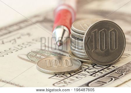 background financial banknote and coins money with business