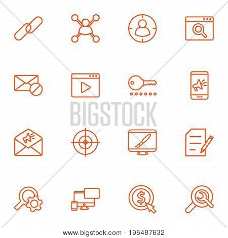Set Of 16 Engine Outline Icons Set. Collection Of Stock Exchange, Cost Per, Wrench And Other Elements.